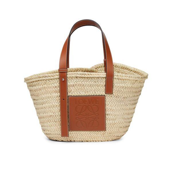Loewe Basket Bag in Palm Leaf and Calfskin