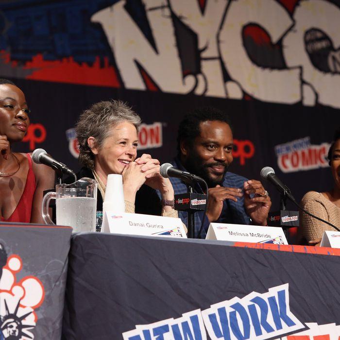 NEW YORK, NY - OCTOBER 11: Danai Gurira, Melissa McBride, Chad L. Coleman and Sonequa Martin-Green speak at