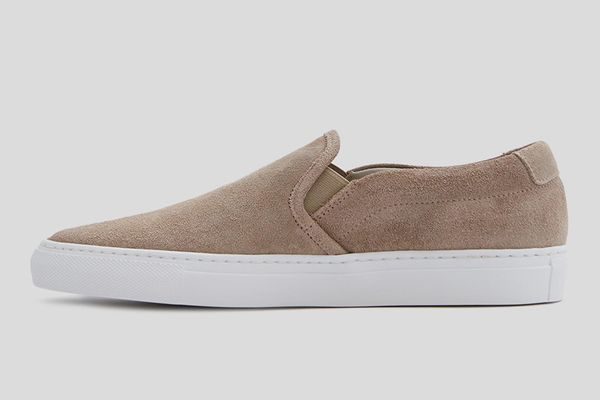 Woman by Common Projects Slip On in Warm Grey Waxed Suede
