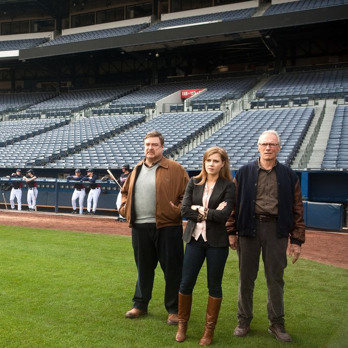 """(L–r) JOHN GOODMAN as Pete Klein, AMY ADAMS as Mickey and CLINT EASTWOOD as Gus in Warner Bros. Pictures' drama """"TROUBLE WITH THE CURVE,"""" a Warner Bros. Pictures release."""