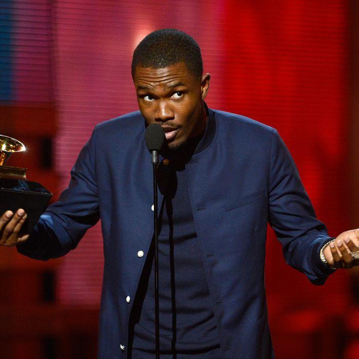 LOS ANGELES, CA - FEBRUARY 10: Singer Frank Ocean accepts Best Urban Contemporary Album award for