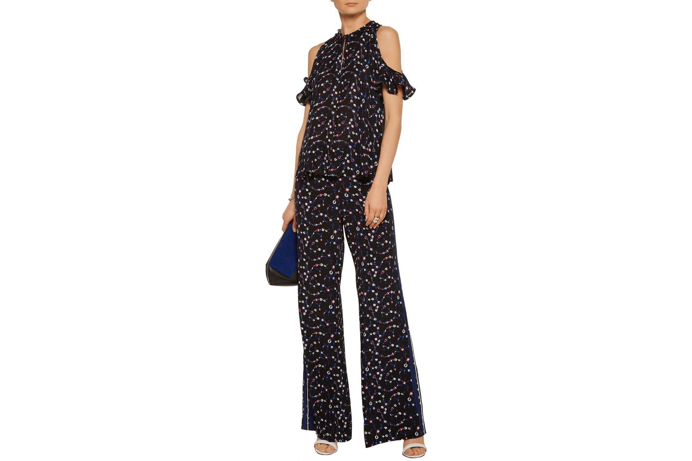 10 Crosby Derek Lam Striped Floral Wide-Leg Pants