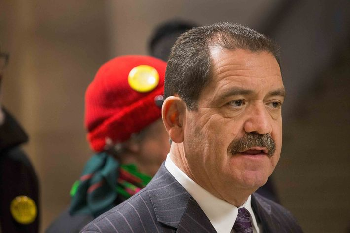 "Chicago mayoral candidate Jesus ""Chuy"" Garcia speaks to the press in support of the United Taxidrivers Community Council (UTCC) during a press conference at City Hall on February 17, 2015 in Chicago, Illinois."