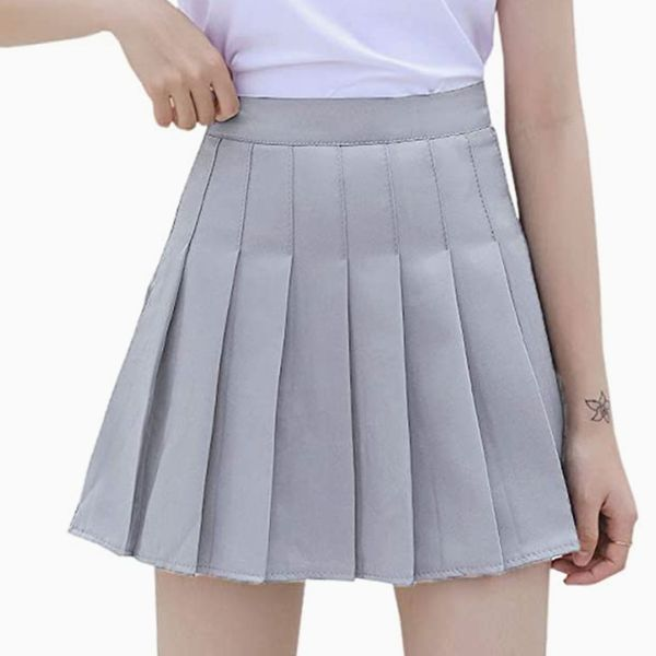 Scktoo High Waisted Pleated Tennis A-Line Skirt with Lining Shorts