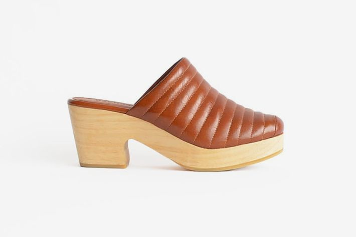 The leather Beklina brand clog in cognac - the Strategist status clogs