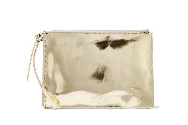 MMG by Masion Margiela Embossed Metallic Faux Leather Pouch