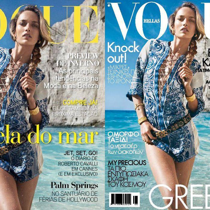 <em>Vogue</em> Portugal (left) and <em>Vogue</em> Hellas.
