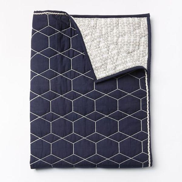 West Elm Honeycomb Toddler Quilt, Nightshade