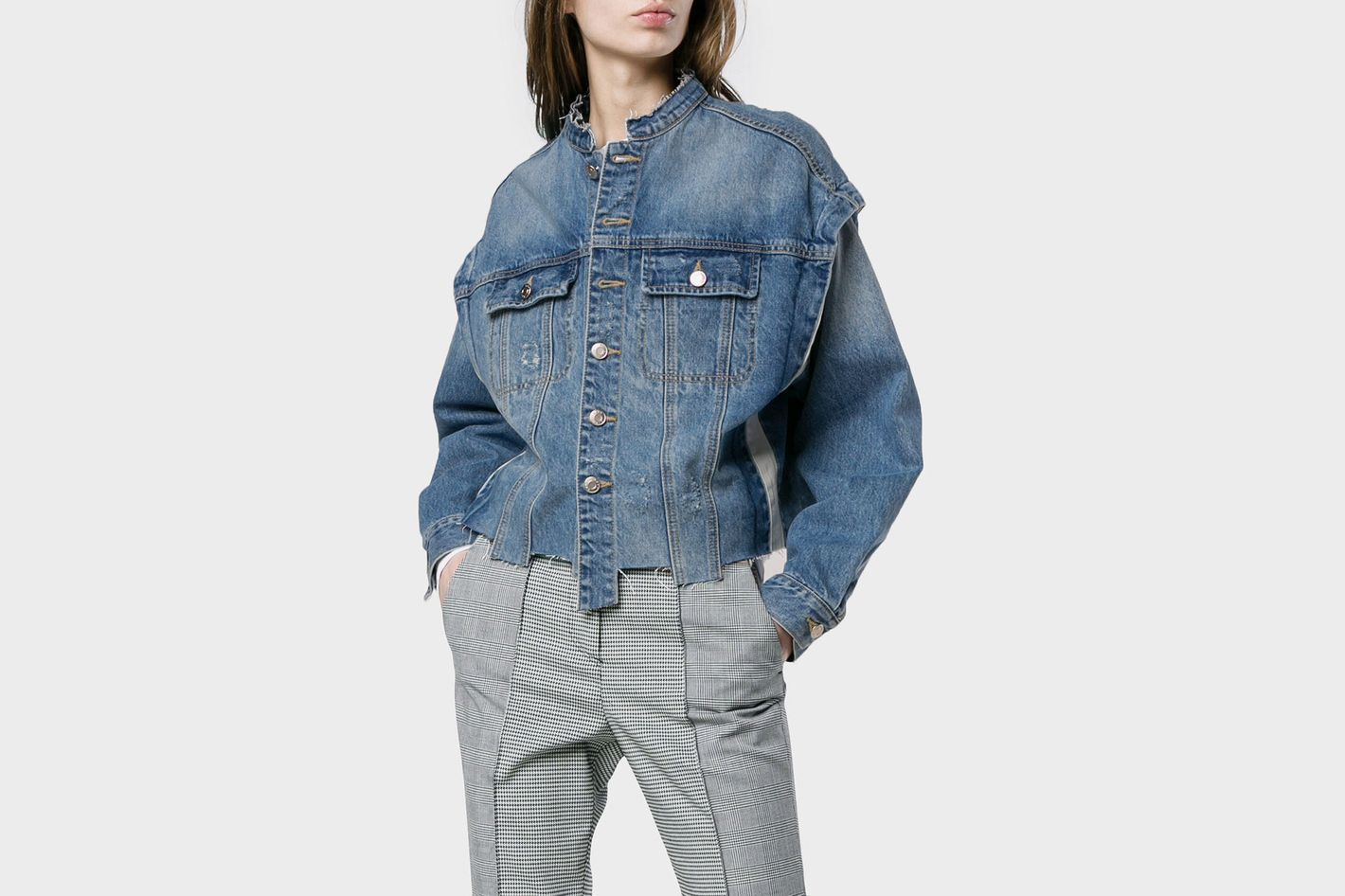 SJYP Text Print Insert Denim Jacket