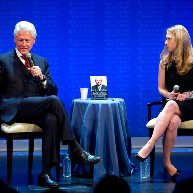 Former US President Bill Clinton speaks to the audience at the New York Historical Society November 8, 2011 in New York. Clinton was interviewed by his daughter Chelsea Clinton about his latest book, Back to Work. AFP PHOTO/DON EMMERT (Photo credit should read DON EMMERT/AFP/Getty Images)