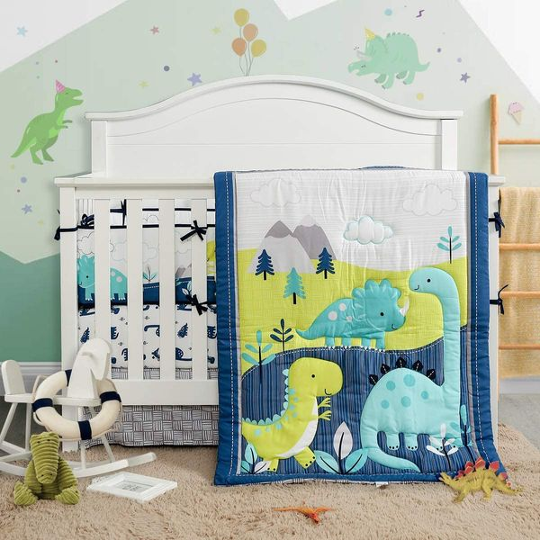 Uozzi Bedding 3-Piece Crib Bedding Set Navy Teal and Yellow Modern Dinosaur