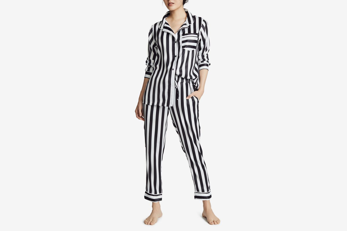 Plush Silky Striped Pajama Set