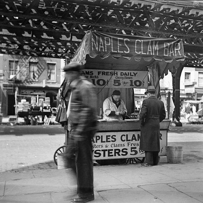 Clams for sale, circa 1936.