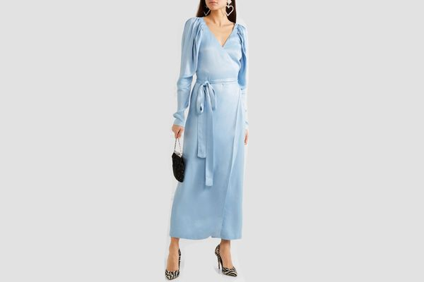 Rotate Birger Christensen Satin wrap maxi dress