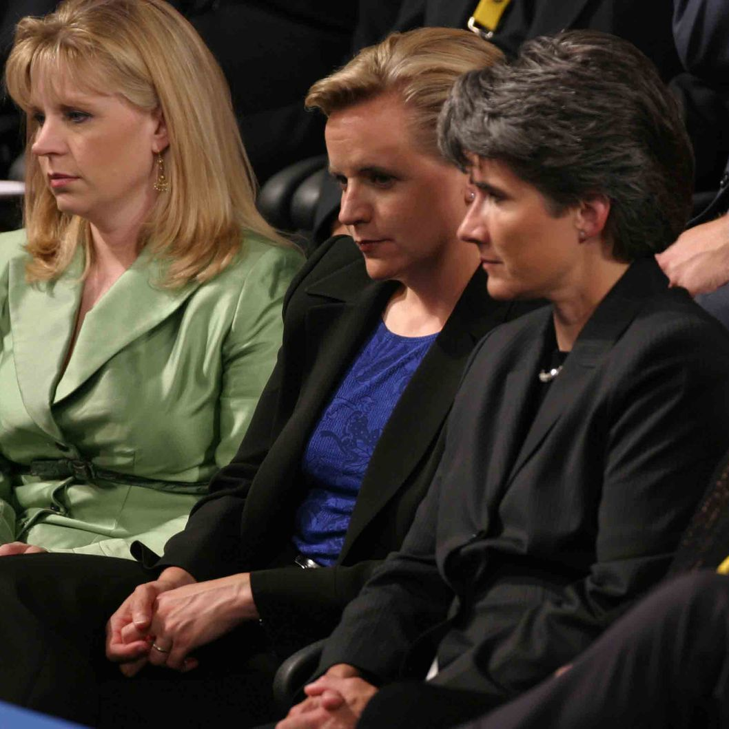 01 Sep 2004, New York City, New York State, USA --- Mary Cheney (C), daugther of Vice President Dick Cheney, and partner are seen during the Republican National Convention. Mary Cheney's sister, Liz Cheney Perry, is seen at left.