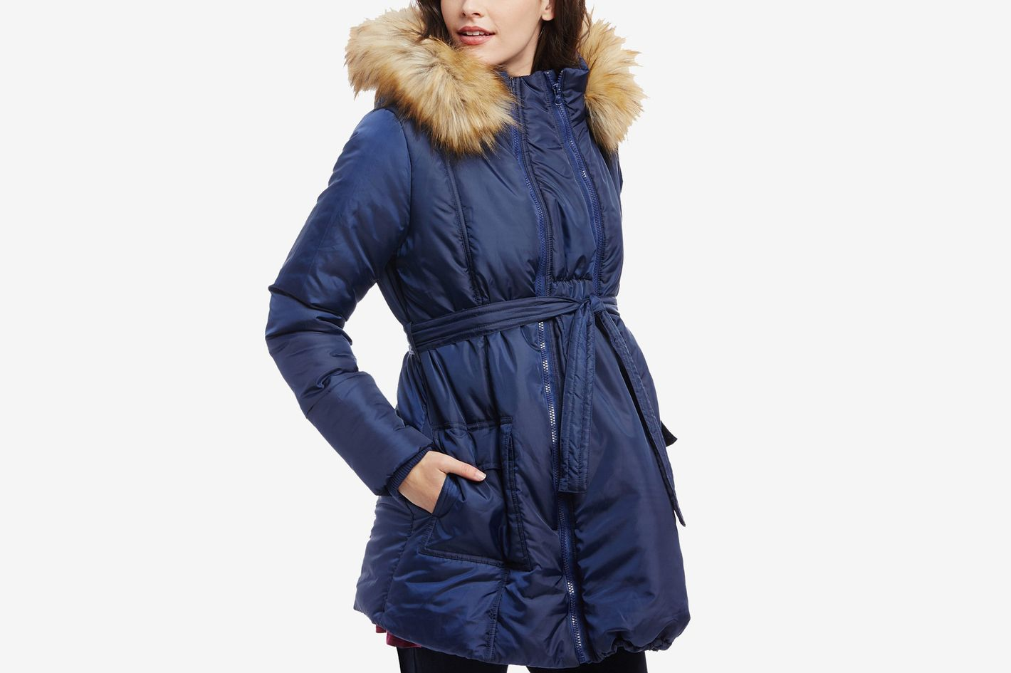 3d151c98e7b6 Motherhood Maternity Three-In-One Belted Quilted Puffer Coat