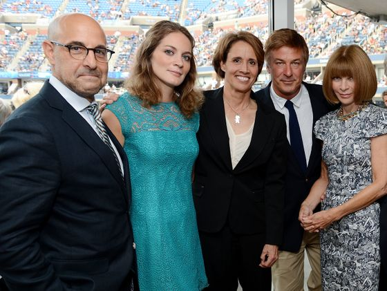 Stanley Tucci, Felicity Blunt, sportscaster Mary Carillo, Alec Baldwin, and <i>Vogue</i>'s Anna Wintour attend Moët & Chandon's opening day party.