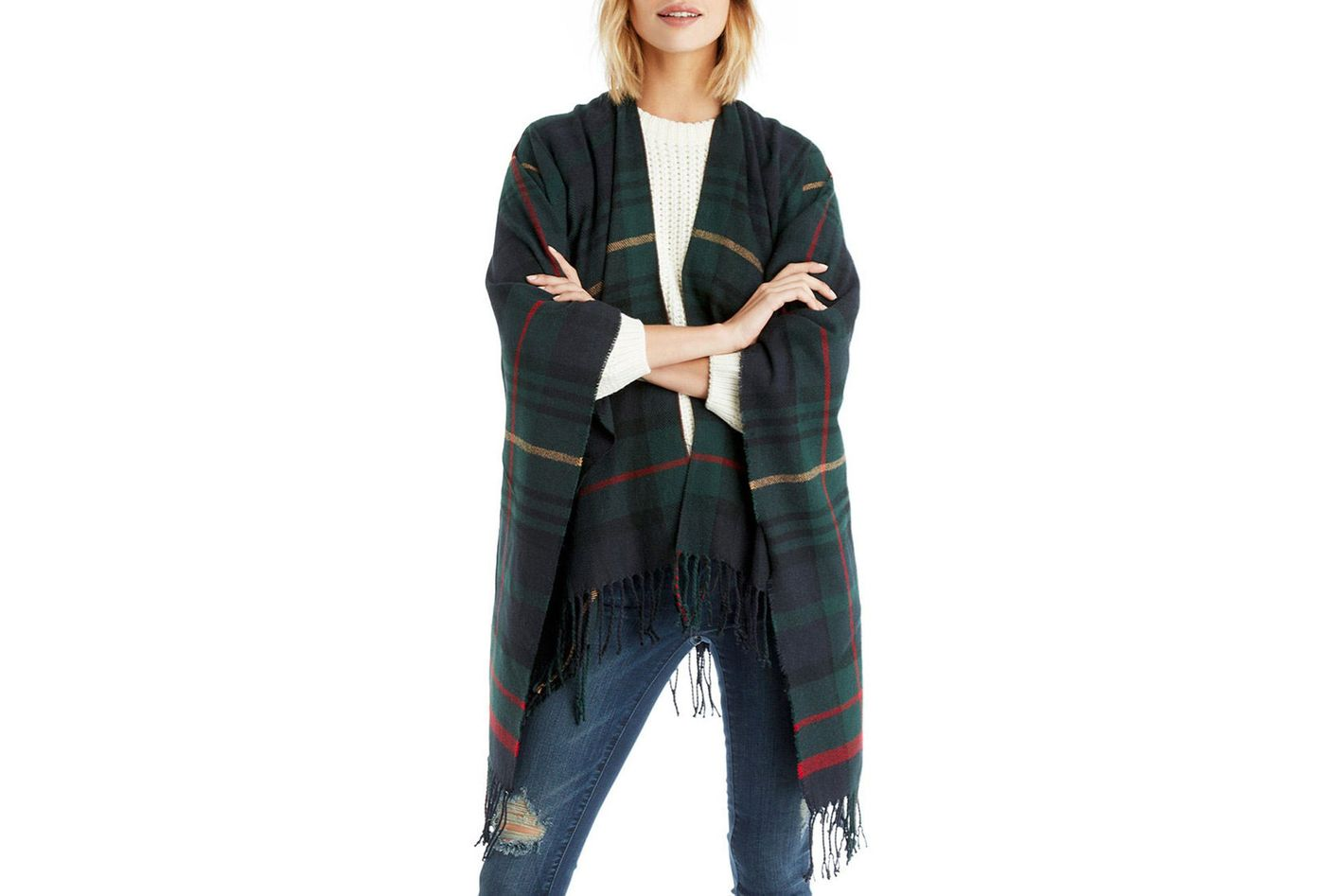 Sole Society Fringed Plaid Wrap