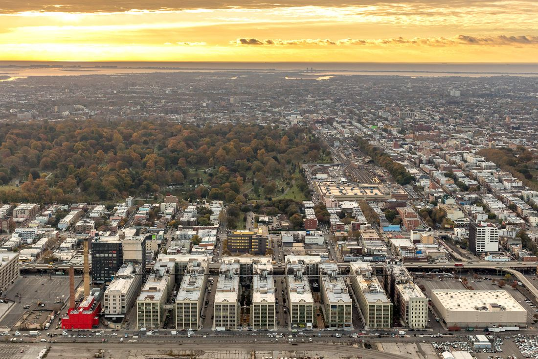 An aerial view of Sunset Park shows a mix of low-rise apartment buildings and row houses that make up the neighborhood.