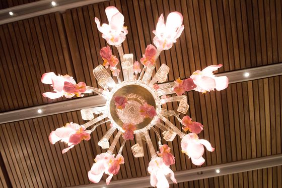 The Murano-flower-glass chandeliers.