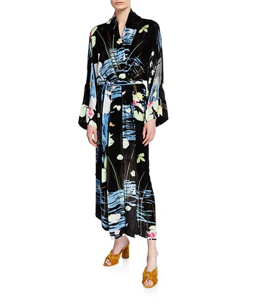 Peignoir Swan-Print Robe Dress