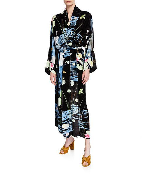Peignoir Swan-Print Robe Dress