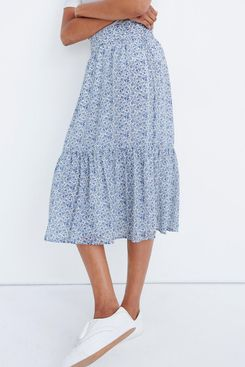 Madewell Tiered Peasant Midi Skirt in Climbing Floral