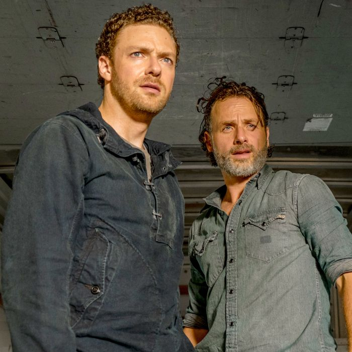 Andrew Lincoln as Rick Grimes, Ross Marquand as Aaron - The Walking Dead _ Season 7, Episode 7 - Photo Credit: Gene Page/AMC