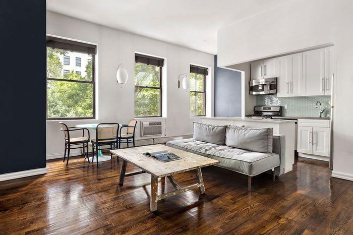 Living room with three windows.