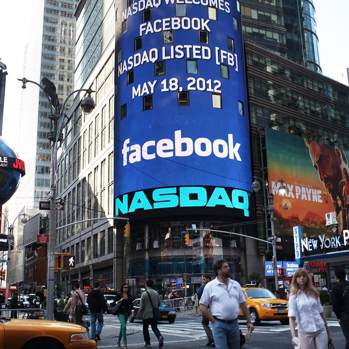 The Nasdaq board in Times Square advertises Facebook which is set to debut on the Nasdaq Stock Market today on May 18, 2012 in New York, United States. The social network site is set to begin trading at roughly 11:00 a.m. ET and on Thursday priced 421 million shares at $38 each. Facebook, a Menlo Park, California based company, will have a valuation exceeding $100 billion.