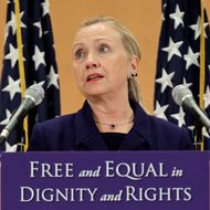 """US Secretary of State Hillary Clinton defends the rights of lesbian, gay, bi-sexual, and transgender people from around the world in a speech entitled """"Free and Equal in Dignity and Rights"""" during the International Human Rights Day at the United Nations in Geneva on December 6, 2011. Hillary Clinton called today for an end to gender discrimination in the world and announced the creation of a fund to support the fight against the discrimination of gay, lesbian, bisexual and transgender people."""