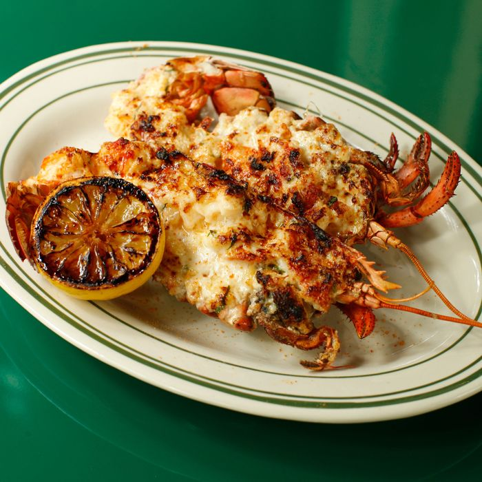 Lobster Thermidor with lemon, Gruyère, and cognac-cream sauce.