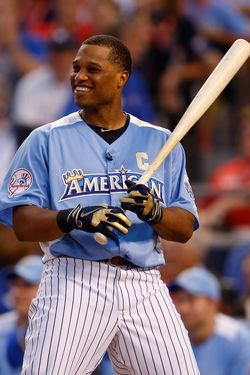 KANSAS CITY, MO - JULY 09:  American League All-Star Robinson Cano #24 of the New York Yankees at bat in the first round during the State Farm Home Run Derby at Kauffman Stadium on July 9, 2012 in Kansas City, Missouri.  (Photo by Jamie Squire/Getty Images)