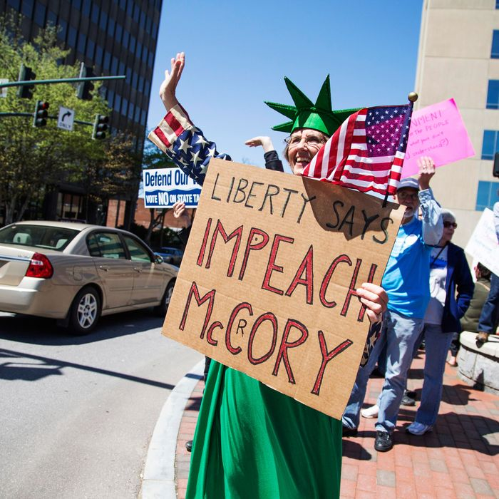 Locals protest Governor Pat Mccrory during Moogfest 2014 on April 23, 2014 in Asheville, North Carolina.