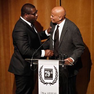 Director Steve McQueen and actor Harry Belafonte attend the 2013 New York Film Critics Circle awards at The Edison Ballroom on January 6, 2014 in New York City.