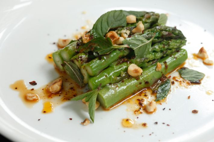 Asparagus, hazelnuts, smoked-chile vinaigrette.