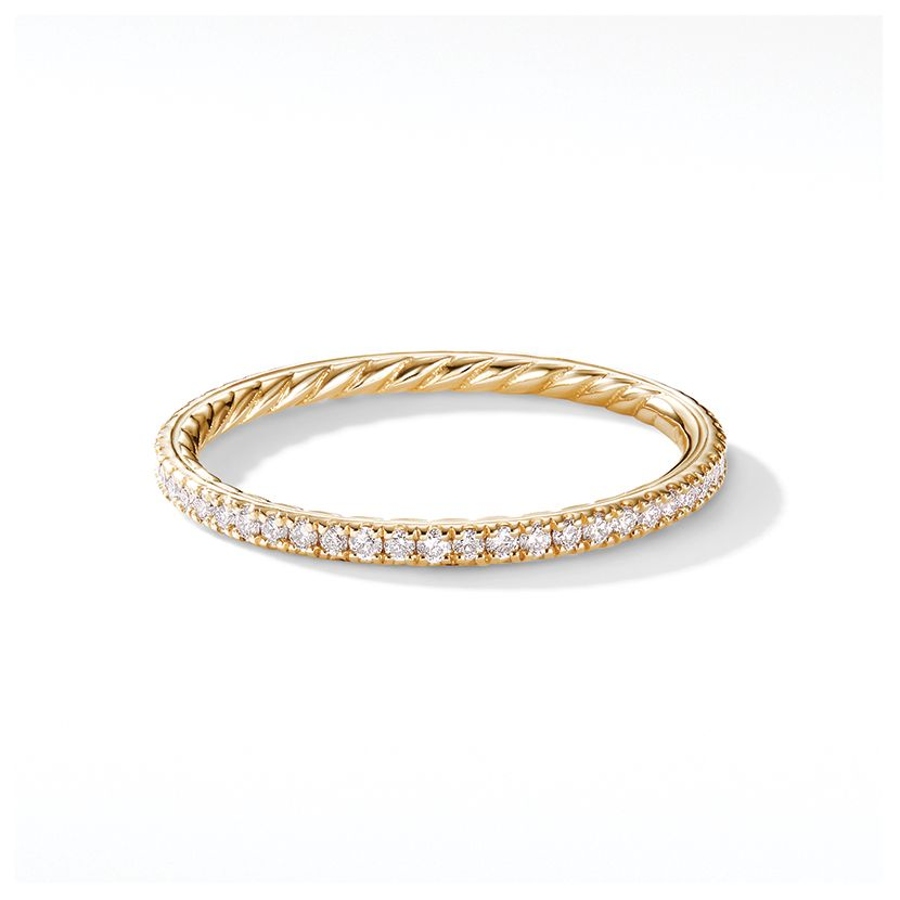 DY Eden Single Row Wedding Band with Diamonds in 18K Gold, 1.55mm
