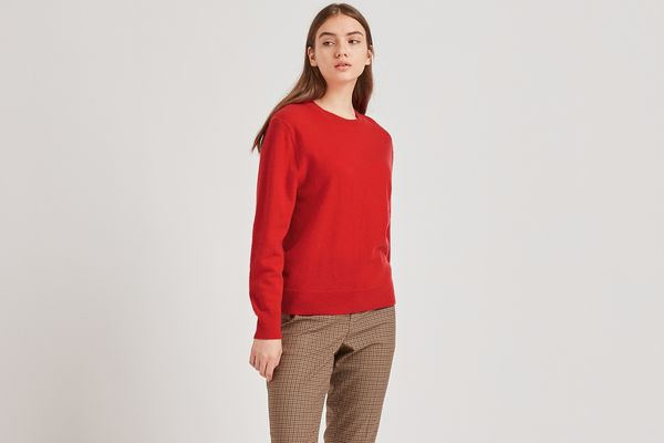 Women Cashmere Relaxed Fit Crew Neck Jumper (Red)