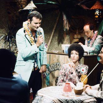 SATURDAY NIGHT LIVE -- Episode 20 -- Pictured: (l-r) Bill Murray as Nick The Lounge Singer, Laraine Newman as Elenor Posniak, Buck Henry as Richard Posniak during the