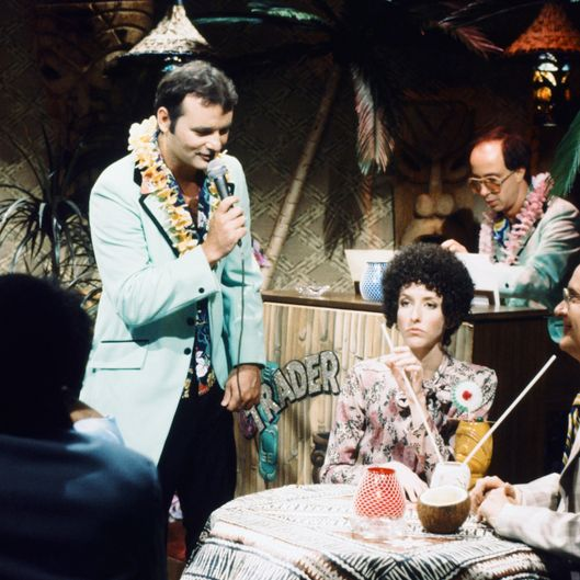 "SATURDAY NIGHT LIVE -- Episode 20 -- Pictured: (l-r) Bill Murray as Nick The Lounge Singer, Laraine Newman as Elenor Posniak, Buck Henry as Richard Posniak during the ""Nick at Trader Nick's"" skit during """" skit on May 24, 1980 -- (Photo by: Alan Singer/NBC/NBCU Photo Bank)"