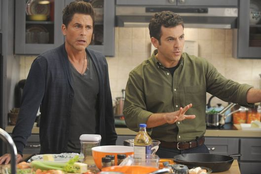 "THE GRINDER:  L-R:  Rob Lowe and Fred Savage in the ""Giving Thanks, Getting Justice"" episode of THE GRINDER airing Tuesday, Nov. 24 (8:30-9:00 PM ET/PT) on FOX.  ©2015 Fox Broadcasting Co.  Cr:  Ray Mickshaw/FOX"