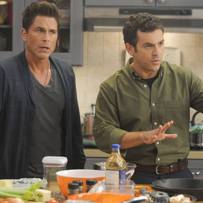 THE GRINDER: L-R: Rob Lowe and Fred Savage in the