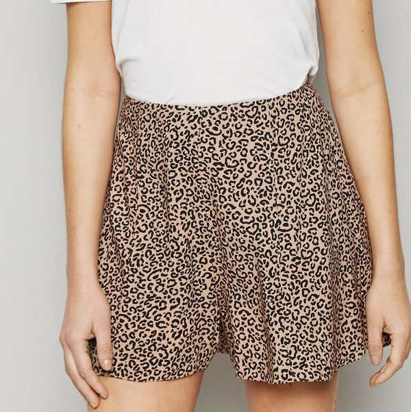 New Look Brown Leopard Print Flippy Shorts