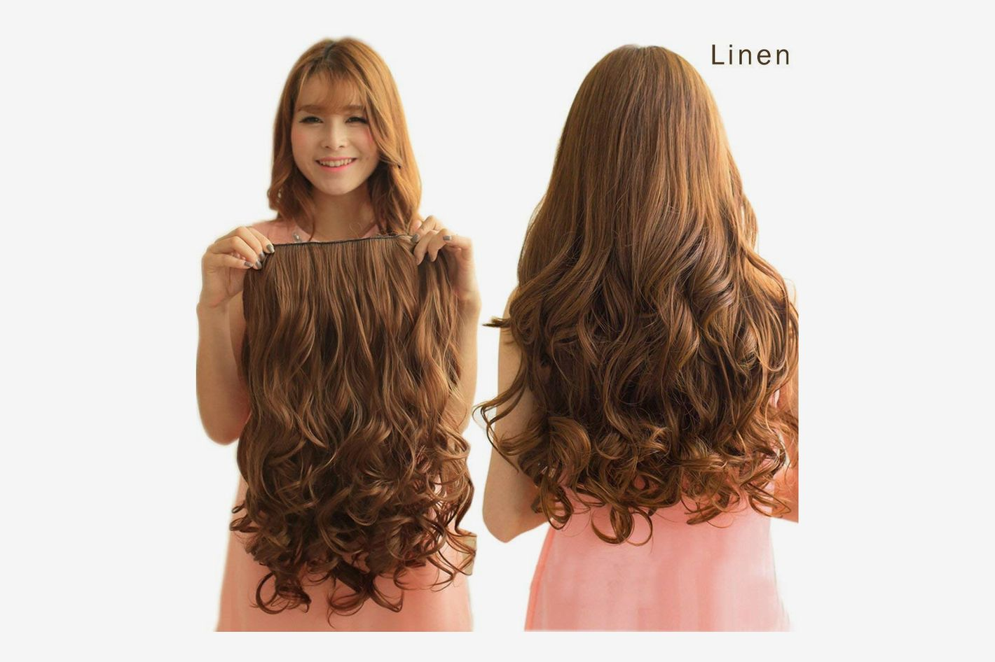 "REECHO 20"" 3/4 Full Head Curly Wave Clips in, 4.6 Oz, 5 Clips, Dark brown"