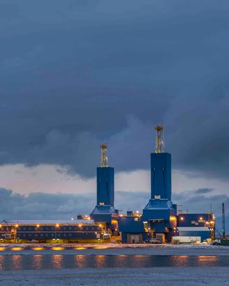 Oil drill rig in the oil industrial complex at Prudhoe Bay, Arctic Alaska.