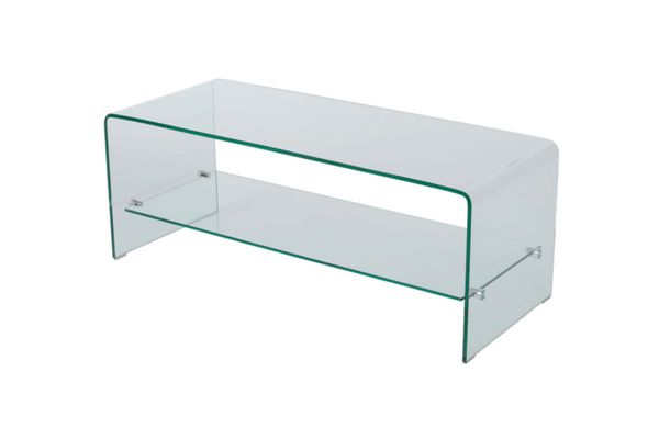 Classon Glass Entertainment TV Console Stand With Shelf