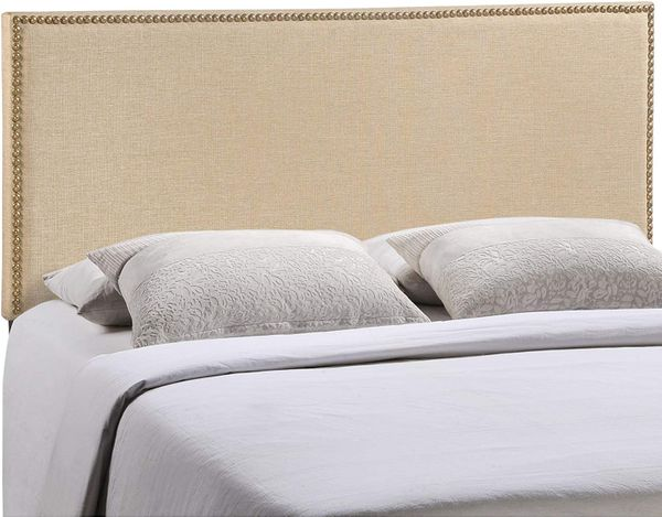 Modway Region Linen Fabric Upholstered Queen Headboard in Cafe with Nailhead Trim