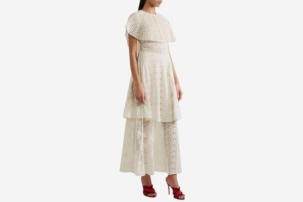 Stella McCartney Appliquéd Tiered Lace Gown