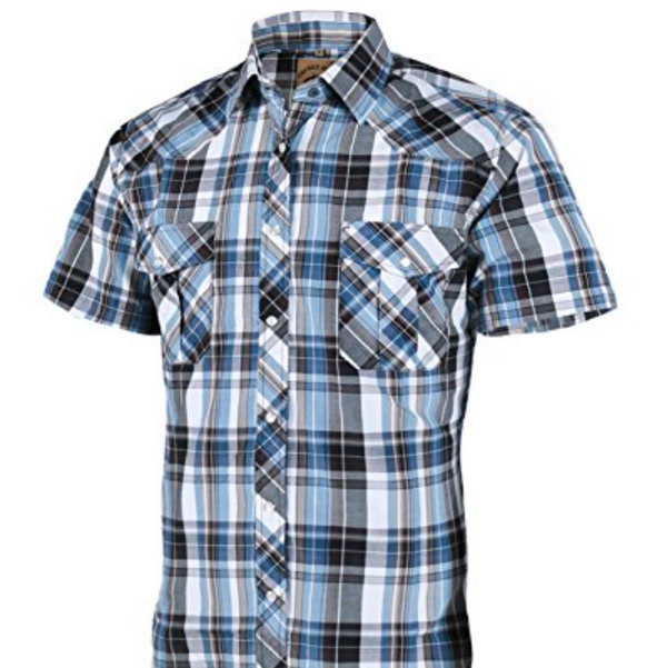 Coevals Club Men's Casual Plaid Snap Front Short Sleeve Shirt