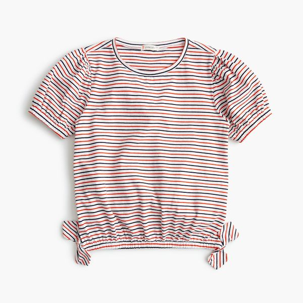 Girls' Puff-Sleeved Top in Stripes